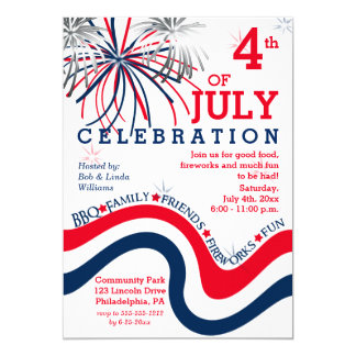 4th of July Celebration in Red White Blue Invitation