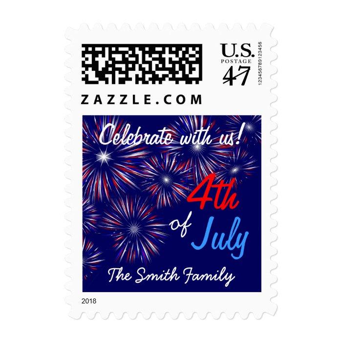 4th of July Celebration Invitation Postage Stamps