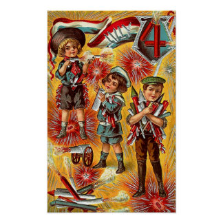 4th of July - Children with Fireworks Poster