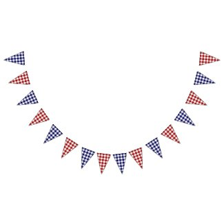4th of July Classic Red White Blue Gingham Pattern Bunting Flags