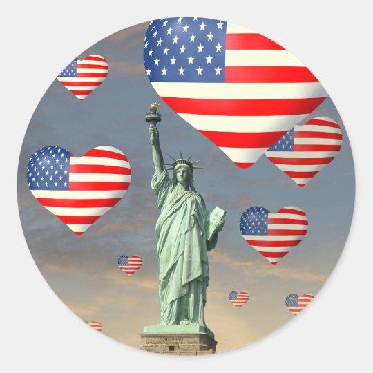 4th of July Classic Round Sticker