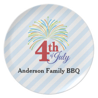 4th of July Colorful Fireworks Personalized Melamine Plate