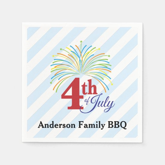 4th of July Colorful Fireworks Personalized Paper Napkin
