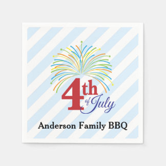 4th of July Colorful Fireworks Personalized Disposable Napkins