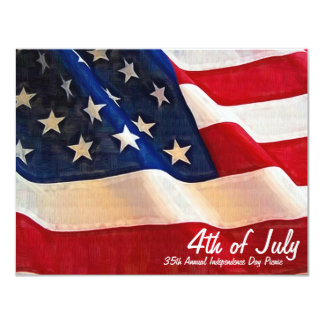 4th of July  Company Party Independence Day 4.25x5.5 Paper Invitation Card