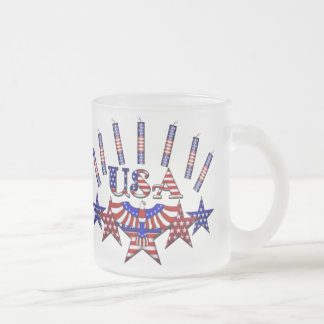 4th of July Crackers Frosted Glass Coffee Mug