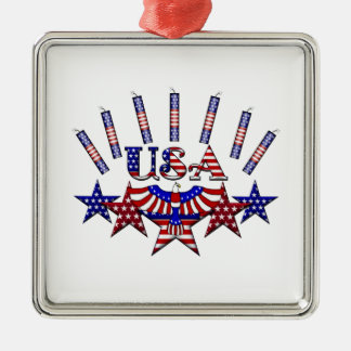 4th of July Crackers Metal Ornament