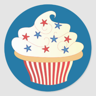 4th of July Cupcake Round Sticker