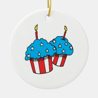 4th Of July Cupcakes Christmas Tree Ornaments