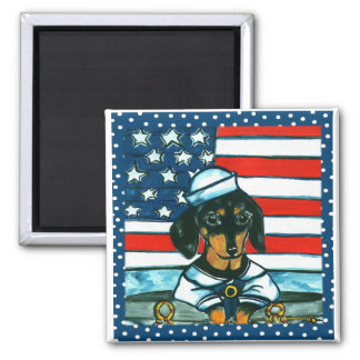 4th of July Dachshund Magnet