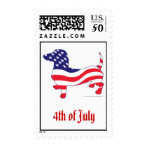 4th of July Dachshund Postage