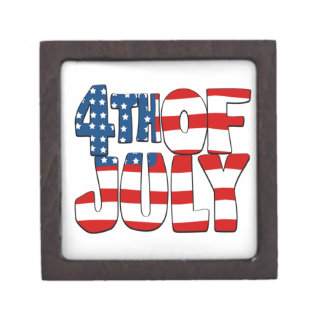 4th of July Design 1 Premium Trinket Box