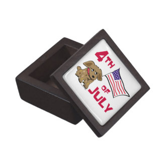 4th of July Dog Design Premium Jewelry Box