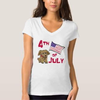 4th of July Dog Design T-Shirt