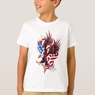 4th of July Eagle and American Flag Illustration T-Shirt