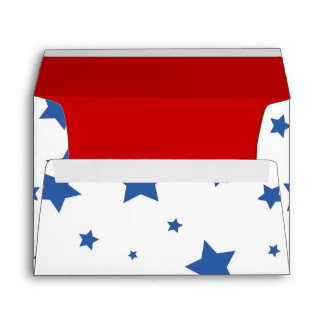 4th of July Envelope A7 Blue Stars on White & Red