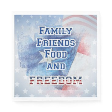 USA Themed 4th of July - Family, Friends, Food, & Freedom Napkin