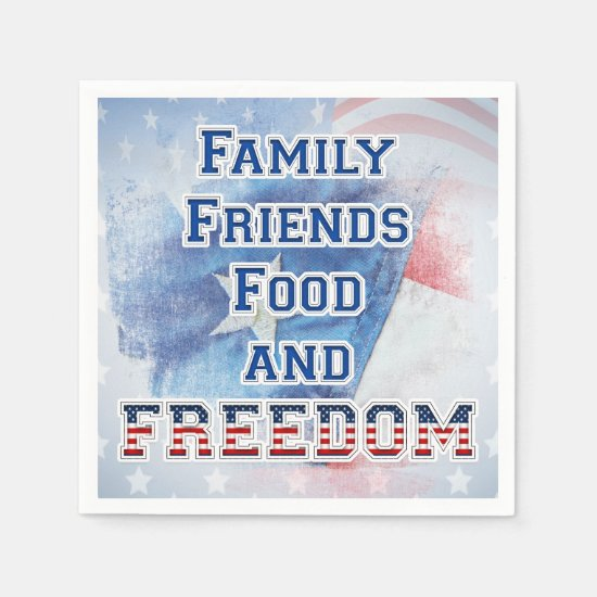4th of July - Family, Friends, Food, & Freedom Napkin