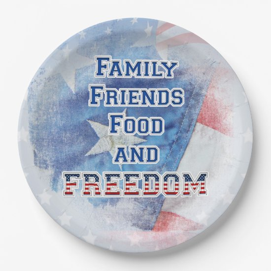 4th of July - Family, Friends, Food, & Freedom Paper Plate