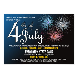 "4th of July Family Reunion Invitation 5"" X 7"" Invitation Card"