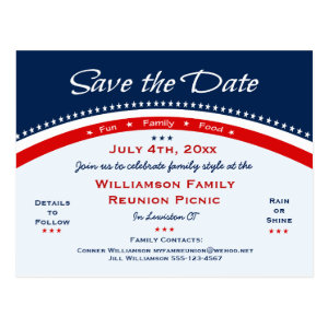 4th of July Family Reunion, Party, Save the Date Postcard