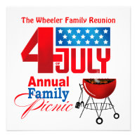 4th of July Family Reunion Picnic BBQ Cookout Custom Invitation