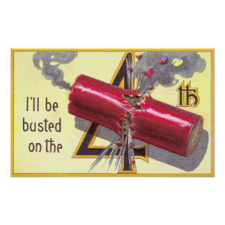 4th of July Firecracker Explodes Poster