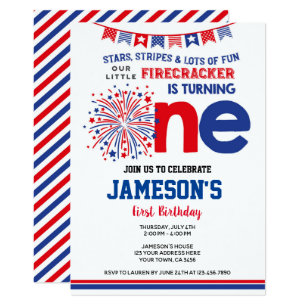 4th Of July Firecracker Invitation