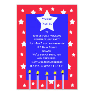 4th of July Firework and Stars Party Invitation