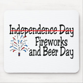 4th of July Fireworks and Beer Day Mousepad