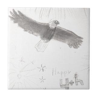 4'th of july fireworks bald eagle drawing eliana.j ceramic tile