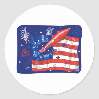 4th of July Fireworks Design Classic Round Sticker