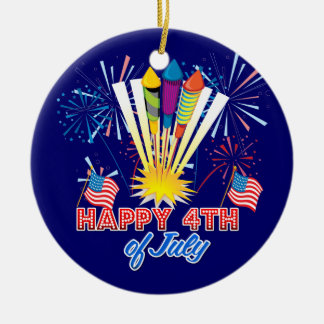 4th of July Fireworks Fun Double-Sided Ceramic Round Christmas Ornament