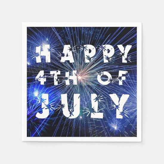 4th of July Fireworks in Blue Hue Happy 4th Paper Napkin