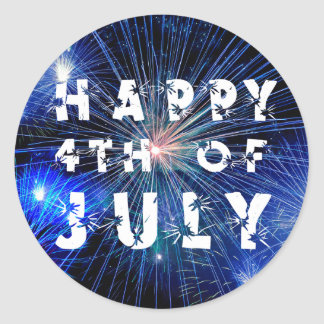4th of July Fireworks in Blue Hue Party Classic Round Sticker