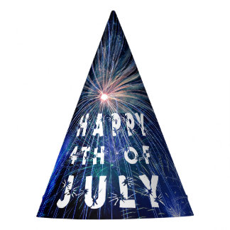 4th of July Fireworks in Blue Hue Party Party Hat