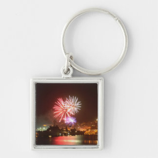 4th of July Fireworks in the Harbor Keychain