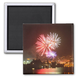 4th of July Fireworks in the Harbor Refrigerator Magnets