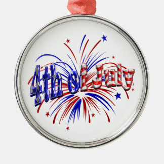 4th of July Fireworks Metal Ornament