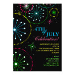 "4th of July Fireworks Party Invitation 5"" X 7"" Invitation Card"