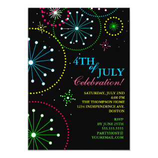 4th Of July Fireworks Party Invitation at Zazzle