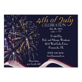 "4th of July Fireworks Party Invitations 5"" X 7"" Invitation Card"