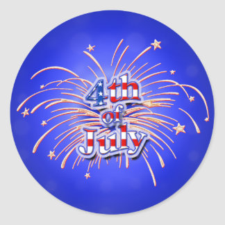 4th of July Fireworks Round Sticker