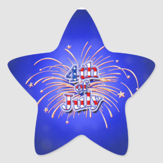 4th of July Fireworks Star Sticker