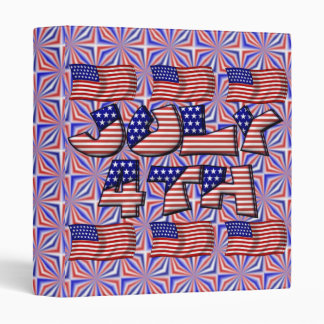 4th of July Flag 3 Ring Binder