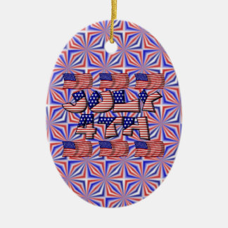 4th of July Flag Ceramic Ornament