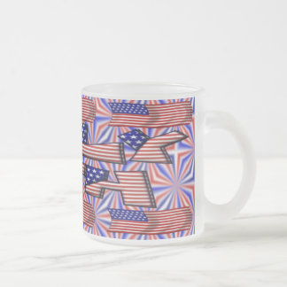 4th of July Flag Frosted Glass Coffee Mug