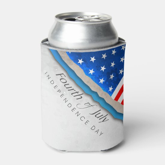 4th of July Flag - Independence Day Can Cooler