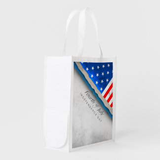 4th of July Flag - Independence Day Grocery Bag
