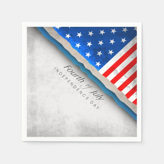 4th of July Flag - Independence Day Napkin